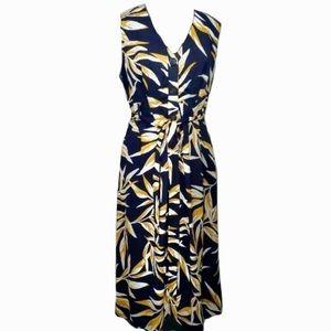JOA Navy Yellow Leaf Print Sleeveless Shirt Dress